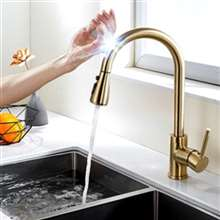 Fontana Chatou Gold Pull Out Sensor Touch Kitchen Sink Faucet with Button For Two Way Flow