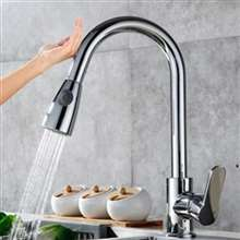 Fontana Sénart Chrome Pull Out Sensor Touch Kitchen Sink Faucet with Button For Two Way Flow