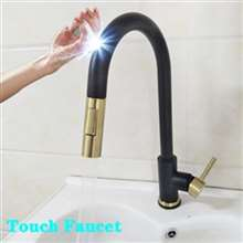 Fontana Geneva 360 Rotation Pull Out Sprayer Sensor Touch Kitchen Faucet in Black and Gold Finish