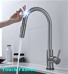 Fontana St. Gallen 360 Rotation Pull Out Sprayer Sensor Touch Kitchen Faucet in Brushed Nickel Finish