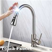 Fontana Sénart Brushed Nickel Gooseneck Pull Out Sprayer Sensor Touch Kitchen Sink Faucet