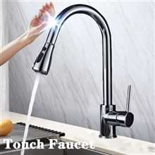 Fontana Melun Chrome Gooseneck Pull Out Sprayer Sensor Touch Kitchen Sink Faucet