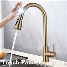 Fontana Le Havre Gold Gooseneck Pull Out Sprayer Sensor Touch Kitchen Sink Faucet