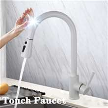 Fontana Chatou White Gooseneck Pull Out Sprayer Sensor Touch Kitchen Sink Faucet