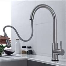 Fontana Sète Brushed Nickel 360 Rotation Kitchen Sink Faucet with Pull Out Sprayer