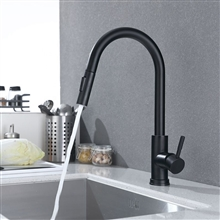 Fontana Bavaria Matte Black 360 Rotation Kitchen Sink Faucet with Pull Out Sprayer