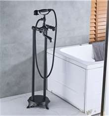 Fontana Creteil Dual Handle Bathroom Freestanding Floor Mount Bathtub Faucet with Hand Shower and Tub Spout in Black Bronze