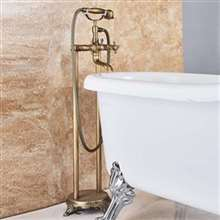 Fontana Dax Dual Handle Bathroom Freestanding Floor Mount Bathtub Faucet with Hand Shower and Tub Spout in Antique Brass