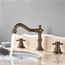 Fontana Bianca Antique Brass Dual Handle Bathroom Sink Faucet