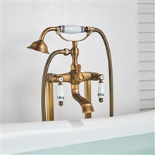 Fontana Deauville Dual Handle Bathroom Freestanding Floor Mount Bathtub Faucet with Hand Shower and Tub Spout in Antique Brass