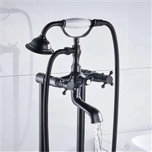 Fontana Melun Oil Rubbed Bronze Bathroom Freestanding Floor Mount Bathtub Faucet in Telephone Style with Hand Shower and Tub Spout