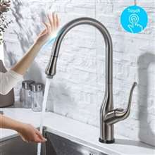 Fontana St. Gallen Touch Kitchen Faucets with Pull Down Sprayer Touch Activated Single Hole Single Handle Brushed Nickel