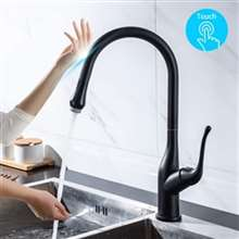 Fontana Dax Touch Kitchen Faucets with Pull Down Sprayer Touch Activated Single Hole Single Handle Matte Black