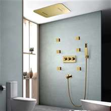 Fontana Melun Gold Finish Music System Thermostatic LED Shower Head with Hand Sprayer Touch Panel Controlled