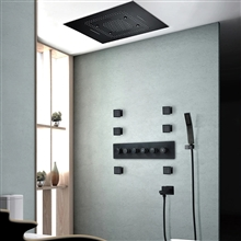 Fontana Marseille Ceiling Mounted Matte Black Touch Panel Controlled Thermostatic Rainfall Waterfall Shower Head Set with Massage Body Jets and Hand Sprayer