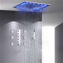 "Sicily 40"" x 40"" Chrome LED Rainfall Shower System"