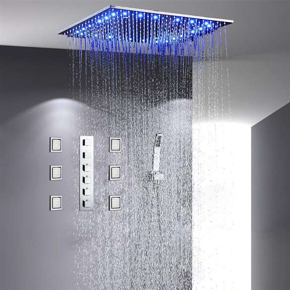 "Sicily 40"" * 40"" Large Chrome LED Rain Shower Head with Body Jets & Handheld Shower Systemwith Body Jets & Handheld Shower"