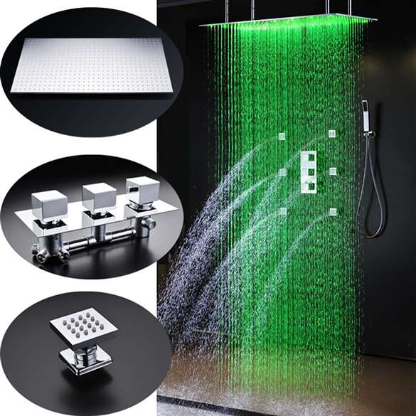 "Seine-Saint-Denis  20"" * 40"" Large Chrome LED Rain Shower Head with Body Jets & Handheld Shower"