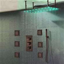Martinique  Large Oil Rubbed Bronze Solid Brass LED Rain Shower Head with Body Jets & Handheld Shower