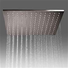 "Fontana Cholet Stainless Steel Brushed Ceiling Mounted 16"" Rainfall Bathroom Shower Head"