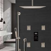 brushed nickel rainfall shower set with digital control ceiling mounted