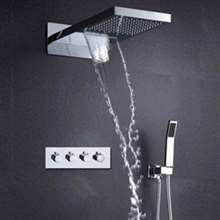 Fontana Marsala Hot and Cold Wall Mounted Chrome Finish Overhead Bathroom Shower Set with Hand Held Sprayer