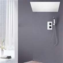 Fontana Geneva Dual Handle Ceiling Mounted Large Rainfall LED Shower System with Handheld Spray