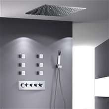 "Fontana Deauville 20"" Thermostatic Shower Set 5 Handles LED Rainfall Shower Head with 6 Body Jets and Handheld Spray"