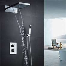 "Fontana Chatou 22"" LED Shower Head Water Saving Rainfall Thermostatic Shower Set With Hand Shower"