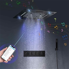 Fontana Cholet 16-inch Smart LED Lighting Rainbow Waterfall Thermostatic Music Shower Set System with Hand Held Shower