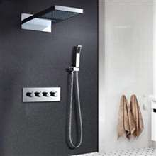 "Fontana Bollnäs 22"" LED Thermostatic Water Saving Bathroom Shower Set Wall Mounted with Hand Held Shower"