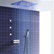 Fontana Lyon 16-inch Hot and Cold LED Embedded Ceiling Shower Head with 3 Body Jets and Hand Shower Set