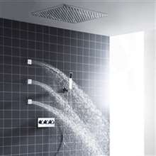 Fontana Valence 20-inch Hot and Cold Embedded Ceiling Shower Head with 3 Body Jets and Hand Shower Set