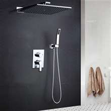"Fontana Marsala 10"" Water Saving Wall Mounted Polished Chrome Bathroom and Shower Faucet Combo Set"