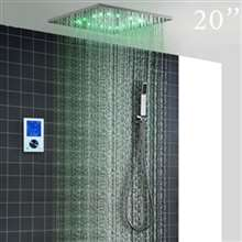 "Fontana Carpi 20"" LED Intelligent Thermostatic Digital Display Touch Panel Wall Mounted Shower System"