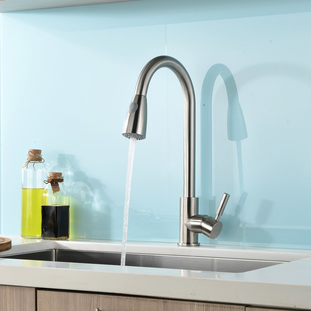 Concordia Brushed Nickel Single Handle Kitchen Sink Faucet with Pull ...