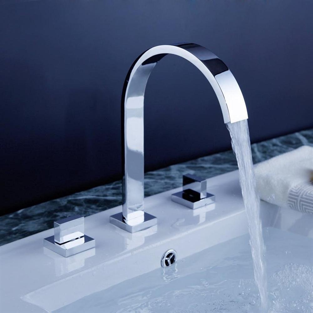 Oran Contemporary Chrome Finish Bathroom Sink Faucet