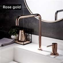 Fontana Basin Faucet Kitchen Sink Faucet Shiny Rose Gold Hot Cold Water Mixer Tap