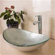 Tuscany Oval Bathroom Glass Sink with Chrome Faucet & Drain