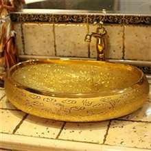 Chieti Embossed Gold Finish Oval Shaped Porcelain Bathroom Sin
