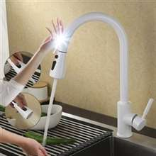 Fontana Kitchen Touch Faucet Pull Out Sensor Tap in White