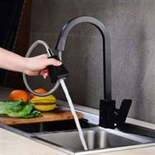 Black Pull Down Kitchen Sink Faucet Brass Sensor Kitchen Mixer Tap Health Home Automatic Touching Faucet