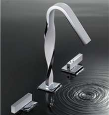 Varese Chrome Deck Mounted Dual Handle Bathroom Faucet