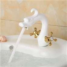 Matera Dual Handle White Dragon Shaped Faucet
