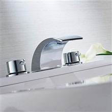 Fernie Deck Mount LED Water Fall Bathroom Sink Faucet