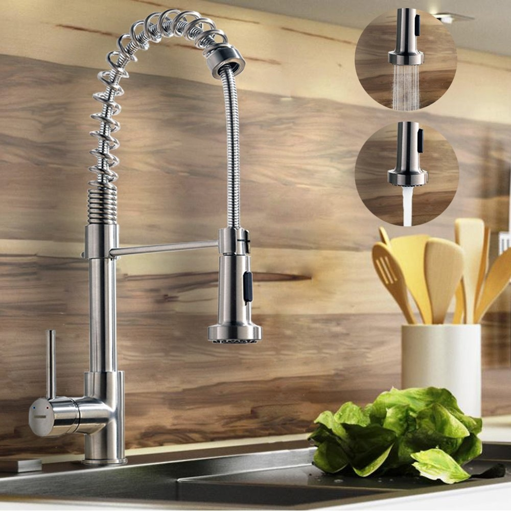 Constantine Brushed Nickel Kitchen Sink Faucet with Pull Down Sprayer