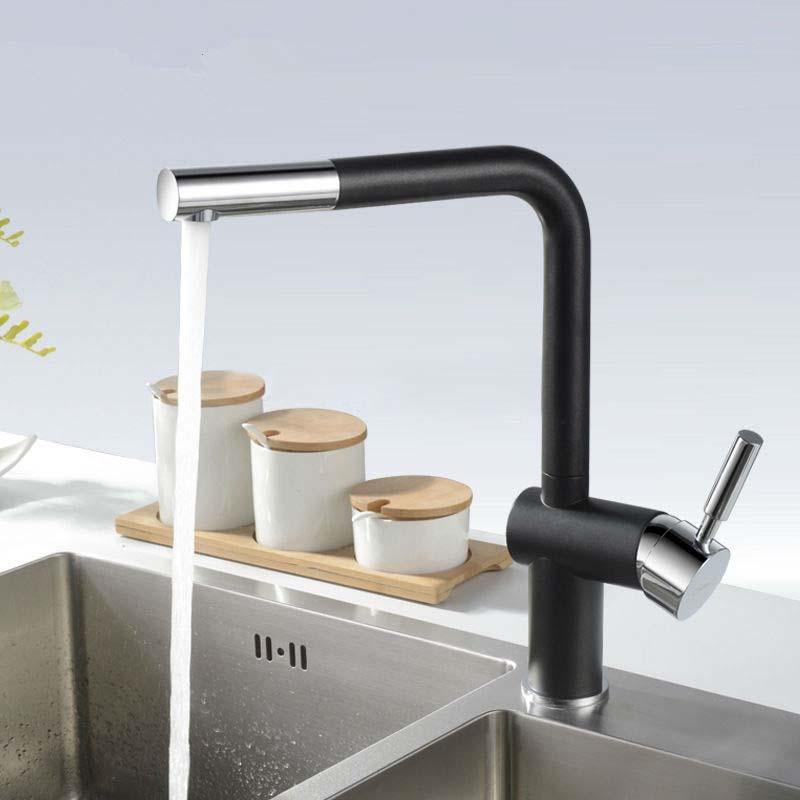 Basilicata Single Handle Brass Deck Mount Granite Matte Black Kitchen Faucet