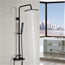 Ebikon Wall Mount Square Rainfall Oil Rubbed Bronze Bathroom Shower Set