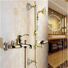 Fontana Sassari Wall Mount Gold Brass Shower Set With Soap Dish