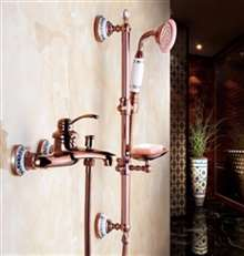 Fontana Sassari Wall Mount Rose Gold Shower Set With Soap Dish